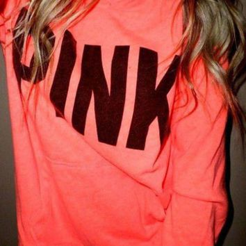 DCCKHQ6 Pink' Victoria's Secret Print Pattern Long Sleeve Hoodie Sweatshirt