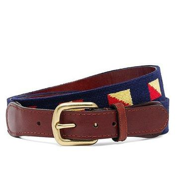 Brooks Flag Needlepoint Belt   Brooks Brothers