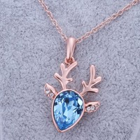 ZLYC 18K Rose Gold Plated Alloy Deer Pendant Necklace for Women