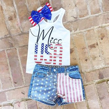 Miss Usa Outfit Denim Flag Tank Top And Shorts