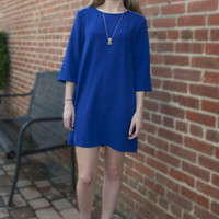 Cobalt Pleated Shift Dress