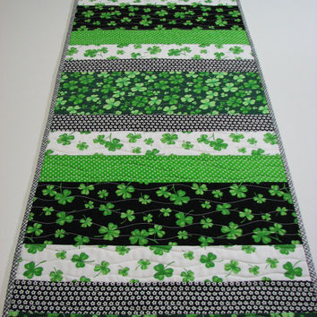 Quilted Table Runner , St. Patrick's Day Table Runner , Shamrocks , Scrappy Strips , Green/Black/White