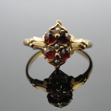 Antique Victorian 10k Gold, Garnet and Seed Pearl Ring, Circa 1800s, RGGAR101D