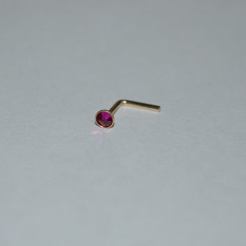 Gold 2mm Ruby Nose Stud - Ear Ring, 16 gauge cartilage,helix,tragus,ear small earring, 16g jewelry