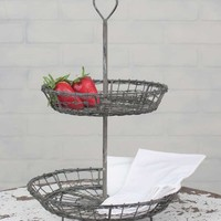 Wire Heart Two-Tiered Serving Stand (Etagere)
