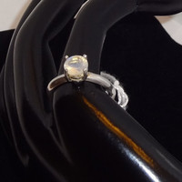 Size 7 Sterling Silver Faceted Moonstone Ring
