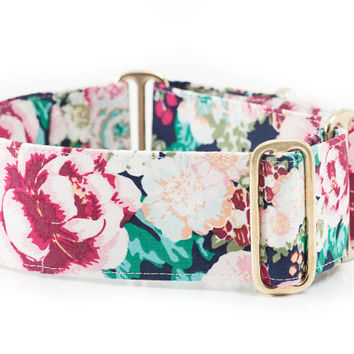 "The ""Flora"" Adjustable Dog Collar - Martingale or Regular - 1"" 1.5"" 2"" Widths - Nickel or Brass Hardware - Vintage Flowers Girly Class Girly"