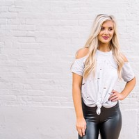 Distressed Cold Shoulder Tee - Thirty One Boutique