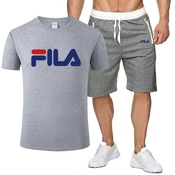 FILA Fashion New Letter Print Sports Leisure Top And Shorts Two Piece Suit Men Gray