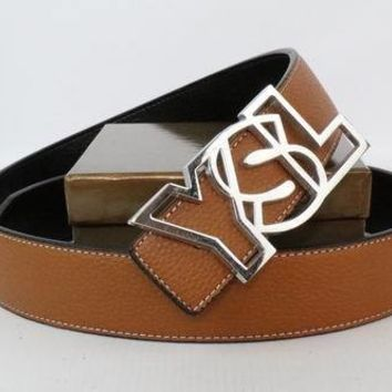 YSL Woman Men Fashion Smooth Buckle Belt Leather Belt