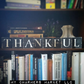 Thankful Sign, Thankful Tile Letters, Thankful Wall Decor, Wooden Letter Blocks, Wood Letter Tiles, Shabby Chic Thankful Sign Set, Gift Idea