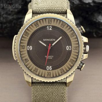 MINGEN Hot Sale Outdoor Sport Military Pilot Aviator Army Style Fashion large Dial Fabric Band Casual Analog Quartz Men Watch