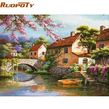 RUOPOTY Countryside Landscape Diy Digital Painting By Numbers Kits Acrylic Picture Home Wall Art Decor For Unique Gift Artwork