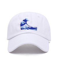 Wave Black & White Embroidered Cotton Dad Hat