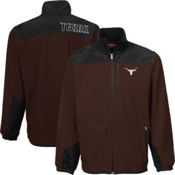 Texas Longhorns Youth Yoked Full Zip Polar Fleece Jacket - Brown/Black