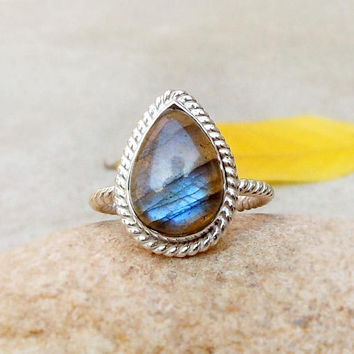 Blue Fire Labradorite Sterling Silver Ring size 7 Gemstone Ring Teardrop ring