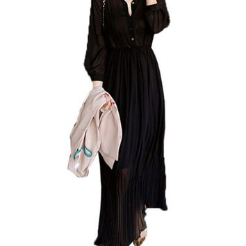 Chicloth Black Button Down Sheer Chiffon Maxi Dress