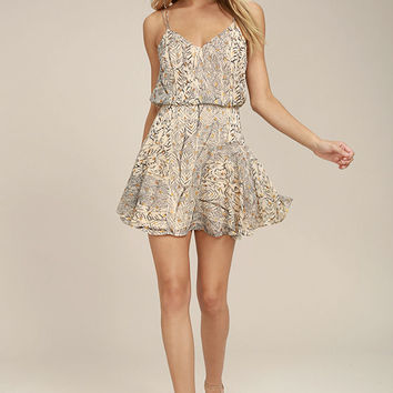 Tanis Beige Print Skater Dress
