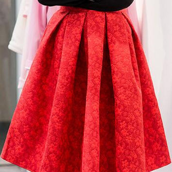 High Waist 3D Subtle Print Pleated Flared Full Skirt