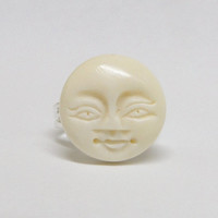 Face Sun Moon ring. Carved ox bone. Adjustable silver band. moon face