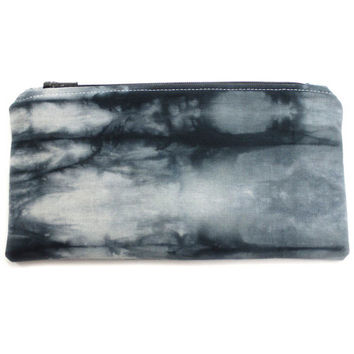 Black White Pouch, Tie Dye Pencil Case, Boho Zipper Pouch, Zipper Cosmetic Case, Black Shibori Pouch, Hand Dyed Pouch, Soft Make Up Case