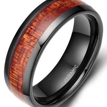 Red Wood Grain Ceramic Ring For Men Wedding Party Classic Finger Jewelry Free Shipping Promotion