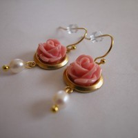 Peach Rose Cabochon and Freshwater Pearl Dangle French Wire Earrings