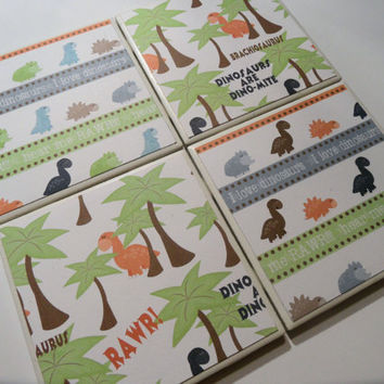 Whimsical Dinosaur Ceramic Coasters - set of 4 - I Love Dinos Collection