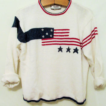 Vintage 1990's Sparkly American Flag Sweater