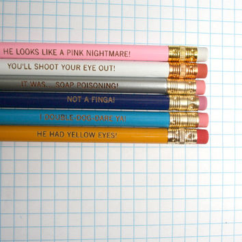 christmas story pencil set of 6.  cannot be separated or sold individually.