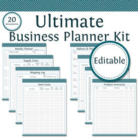 Ultimate Business Planner Kit - Editable - Business Planner - Printable Organizational PDF - Bundled Kit (20 documents)