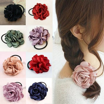 LNRRABC Ponytail Holder Fabric Elastic Hair Bands Rope Ties Hair Accessories Flower Women Fashion Red Hairband