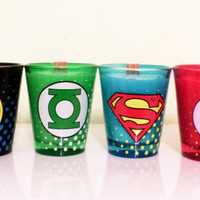 DC Original Comics. Scented 4 piece shot glass gift set.