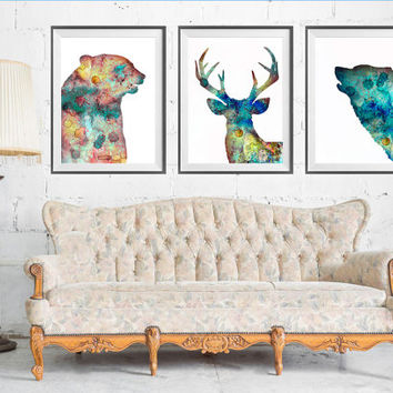 Bear Deer Wolf SET Watercolor Print, Bear art, Deer watercolor, Wolf print, animals set, animal watercolor,  Home Decor, art print,