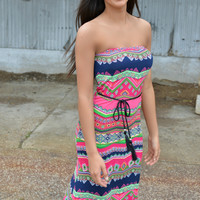 Fuchsia Bulgarie Print Strapless Maxi Dress