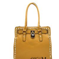 Studded Tote with Lock