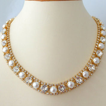Pearl and crystal necklace, Bridal necklace, Swarovski crystal rhinestone necklace, Bridesmaid gift, Tennis necklace, Gold or silver