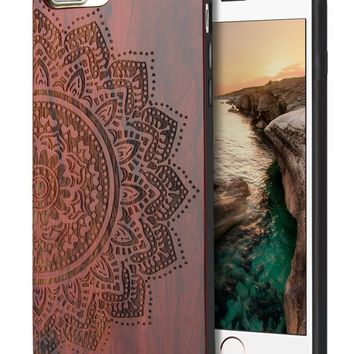 iPhone 7 Plus Wood Case, iPhone 8 Plus Cover, Cool Wood Engraving Floral & Soft Rubber Design Scratch Resistant Shock Absorbing Protective Case for iPhone 7 Plus