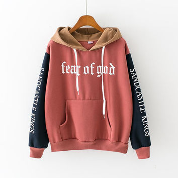 Fear Of God Womens Hooded Sweatshirt New Embroidery Stitching Thickened Cashmere Hoodie Casual Short Female Pullover