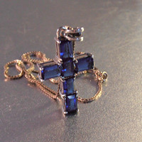 Sterling Gemstone Cross Pendant Necklace, Color Change Blue Purple, Bridal Wedding Jewelry