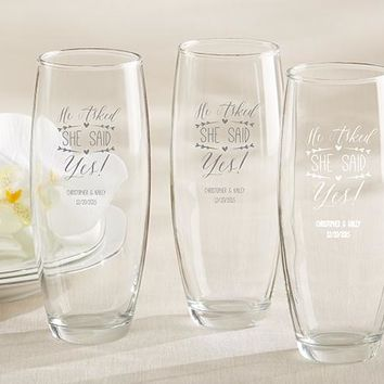 Personalized 9 oz. Stemless Champagne Glass - He Asked, She Said Yes
