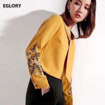 top qualityblouses white shirt women v neck bow tie elegant floral embroidery tops blouse shirts