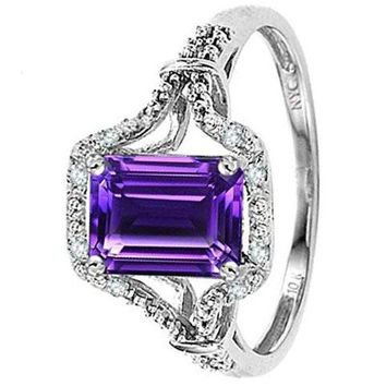 CERTIFIED 1.2 ctw 10k White Gold Vintage Look Emerald Cut Engagement Ring