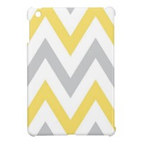Gray & Yellow Chevron iPad Mini Case from Zazzle.com