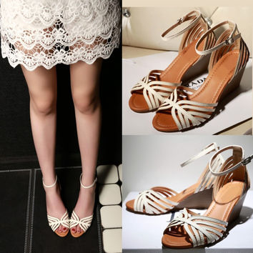 Design Stylish Summer Peep Toe Hollow Out Wedge High Heel Ring Leather Sandals [4920624900]