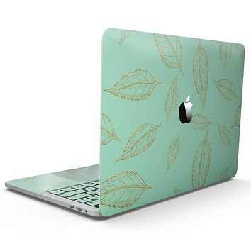 Mint and Gold Floral v11 - MacBook Pro with Touch Bar Skin Kit