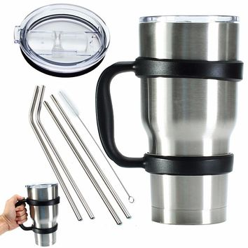Portable 7 Piece/set Water Bottle Mugs Cup Handle Lid Straw Set for 30 Ounce YETI Tumbler Rambler Cup Hand Holder Fit Travel
