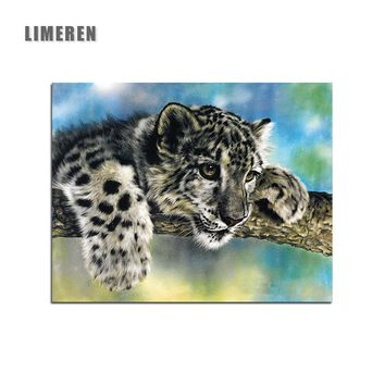 Lying Leopard Animal On Tree DIY Coloring By Numbers Canvas Oil Drawing Painting By  Numbers  For Home Wall Art Picture