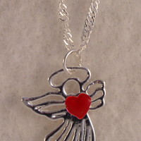 GirlNkSS1 Sterling Silver Angel with Red Enamel Heart