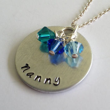 "Custom Hand Stamped ""Nanny"" Necklace / Swarovski Birthstone Crystals / Grandmother Necklace with Children's Birthstones / Grandma Pendant"